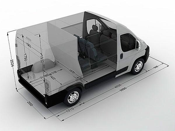 Габариты Пежо Боксер (Peugeot Boxer) микроавтобус 9 мест