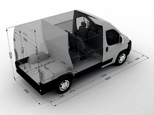 Габаритные размеры Peugeot Boxer грузопассажирский микроавтобус 9 мест
